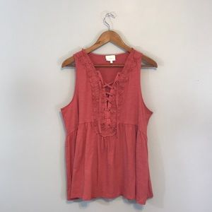 Anthropologie Deletta Lace-Up Tank in coral